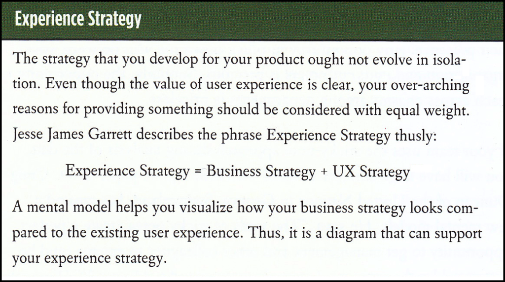 Experience Strategy definition by Indi Young and Jesse James Garrett